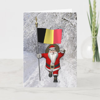 Santa Claus With Flag Of Belgium Holiday Card