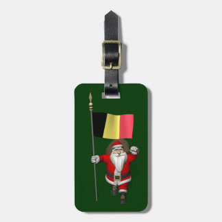 Santa Claus With Flag Of Belgium Luggage Tag