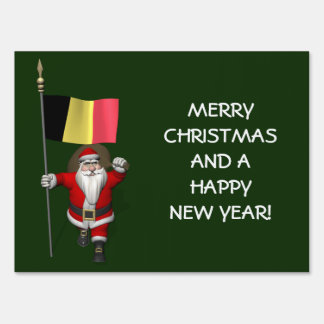 Santa Claus With Flag Of Belgium Lawn Signs