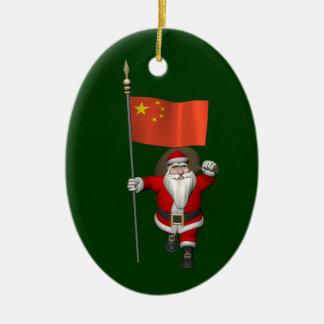 Santa Claus With Flag Of China Ceramic Ornament