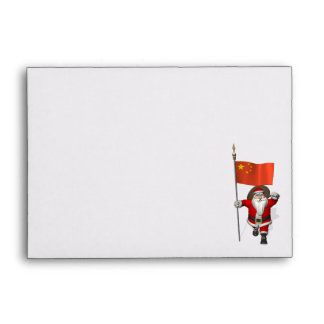 Santa Claus With Flag Of China Envelope