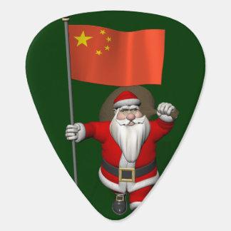 Santa Claus With Flag Of China Guitar Pick
