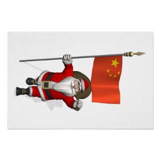 Santa Claus With Flag Of China Poster