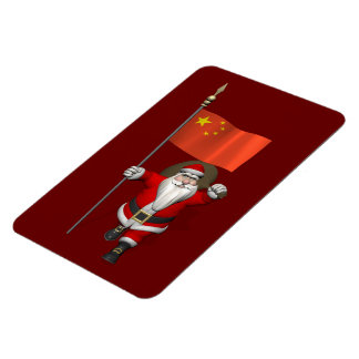 Santa Claus With Flag Of China Rectangular Photo Magnet