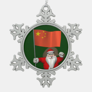 Santa Claus With Flag Of China Snowflake Pewter Christmas Ornament