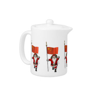 Santa Claus With Flag Of China Teapot