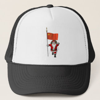 Santa Claus With Flag Of China Trucker Hat