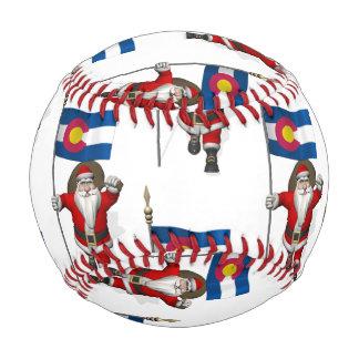 Santa Claus With Flag Of Colorado Baseball