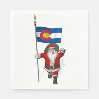 Santa Claus With Flag Of Colorado Napkin