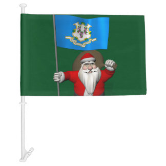 Santa Claus With Flag  Of Connecticut