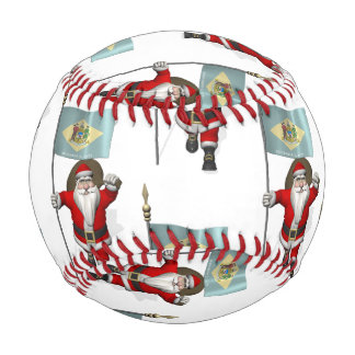 Santa Claus With Flag  Of Delaware Baseball