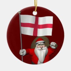 Santa Claus With Flag Of England Ceramic Ornament at Zazzle