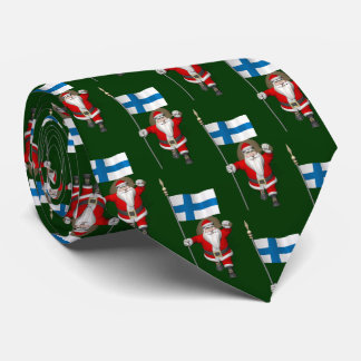 Santa Claus With Flag Of Finland Suomi Neck Tie