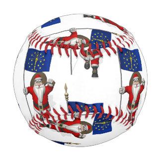Santa Claus With Flag Of Indiana Baseball