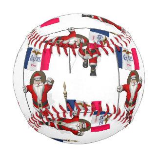 Santa Claus With Flag Of Iowa Baseball