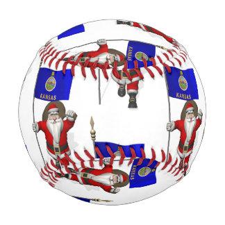 Santa Claus With Flag Of Kansas Baseball