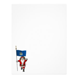 Santa Claus With Flag Of Maine Letterhead