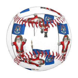 Santa Claus With Flag Of Michigan Baseball