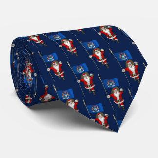 Santa Claus With Flag Of Michigan Neck Tie