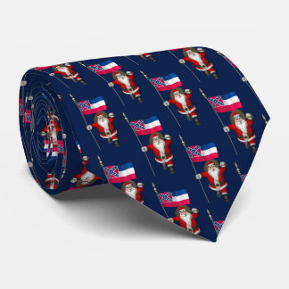 Santa Claus With Flag Of Mississippi Tie