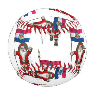 Santa Claus With Flag Of Missouri Baseball