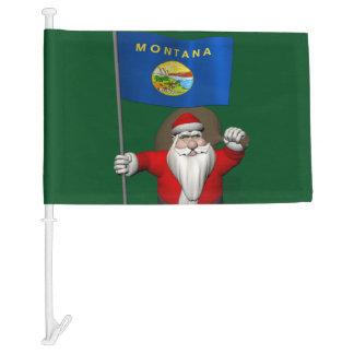Santa Claus With Flag Of Montana