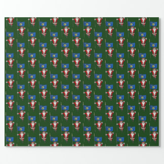 Santa Claus With Flag Of Montana Wrapping Paper