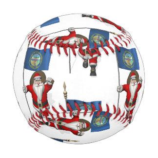 Santa Claus With Flag Of Nebraska Baseball