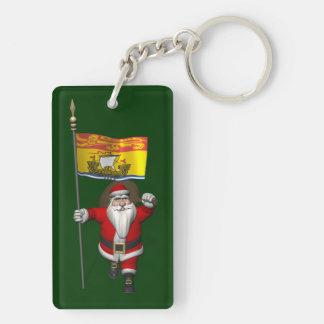 Santa Claus With Flag Of New Brunswick CDN Keychain