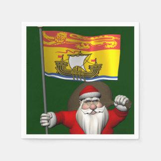 Santa Claus With Flag Of New Brunswick CDN Napkin