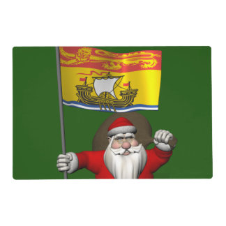 Santa Claus With Flag Of New Brunswick CDN Placemat
