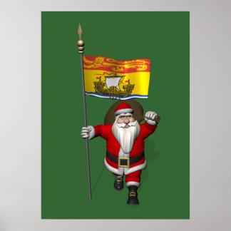 Santa Claus With Flag Of New Brunswick CDN Poster