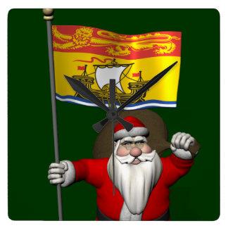 Santa Claus With Flag Of New Brunswick CDN Square Wall Clock