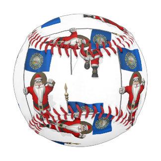 Santa Claus With Flag Of New Hampshire Baseball