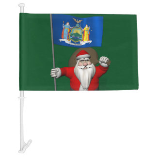 Santa Claus With Flag Of New York US State