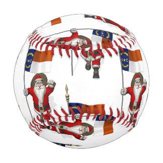 Santa Claus With Flag Of North Carolina Baseball