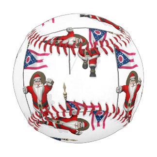 Santa Claus With Flag Of Ohio Baseball