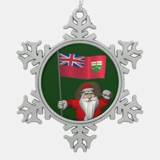 Santa Claus With Flag Of Ontario CDN Snowflake Pewter Christmas Ornament