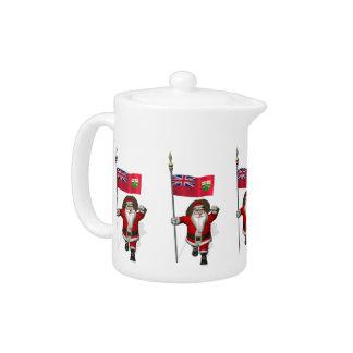 Santa Claus With Flag Of Ontario CDN Teapot