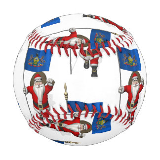 Santa Claus With Flag Of  Pennsylvania Baseball