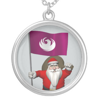 Santa Claus With Flag Of Phoenix AZ Silver Plated Necklace