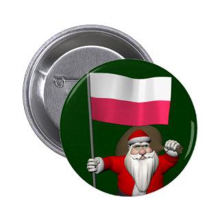 Santa Claus With Flag Of Poland Button