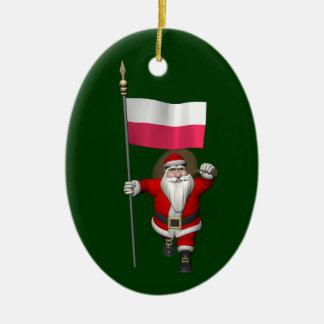 Santa Claus With Flag Of Poland Ceramic Ornament