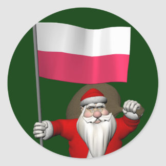 Santa Claus With Flag Of Poland Classic Round Sticker