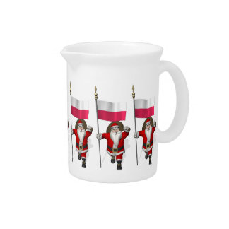 Santa Claus With Flag Of Poland Drink Pitcher