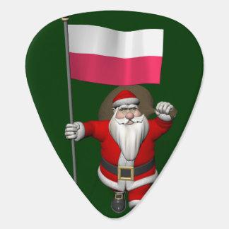 Santa Claus With Flag Of Poland Guitar Pick