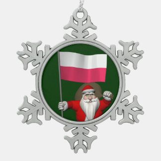 Santa Claus With Flag Of Poland Snowflake Pewter Christmas Ornament