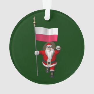 Santa Claus With Flag Of Poland Ornament