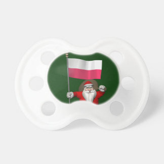 Santa Claus With Flag Of Poland Pacifier