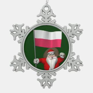 Santa Claus With Flag Of Poland Snowflake Pewter Christmas Ornament